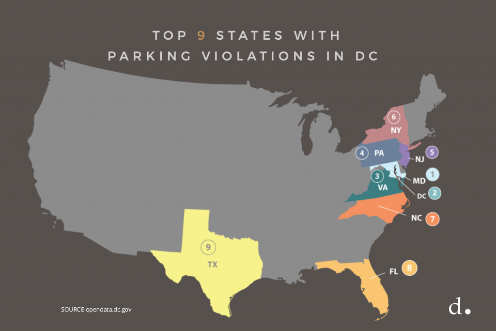 Top 9 States with Parking Violations in Washington DC